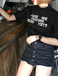 подписать шикарные дикие основные модели корея простые буквы, напечатанные вокруг шеи короткий рукав футболки блузки