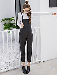 Sign European stations Korean wild loose casual pants overalls Siamese female PU leather pants nine points harem pants