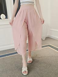 Signe design asymétrique chiffon plissé irrégulier pantalon jambe large taille taille élasthème culottes été