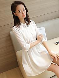 Sinal 2017 primavera e verão camisa vestido coreano slim rendas costura manga mulher vestido branco