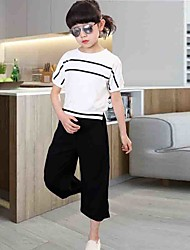 Girl's Cotton  Fashion And Personality  Pure Bat Sleeve Stripe Coat Wide-Legged Pants Two-Piece Outfit