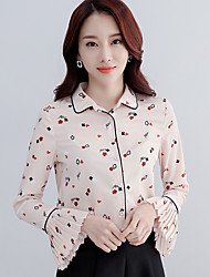 Women's Going out Casual/Daily Simple Summer Shirt,Solid Jacquard Round Neck Short Sleeve Polyester Thin