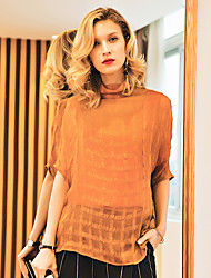 Women's Formal Street chic Spring Blouse,Solid Turtleneck ½ Length Sleeve Silk