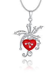 Женский Ожерелья с подвесками Кристалл Геометрической формы Стерлинговое серебро Хрусталь Искусственный бриллиант Уникальный дизайн С