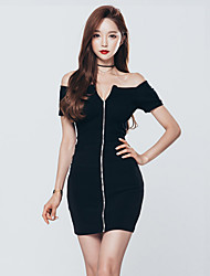 Women Sexy Slash Neck Bodycon Dress Short Sleeve Zipper Dress