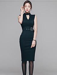 Глубокий v тонкий пакет тазобедренный поясок вокруг элегантный замечательный темперамент без рукавов платье корейский торговый воротник