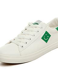 Masculino-Mocassins e Slip-Ons-Conforto-Rasteiro-Preto Branco/Preto Branco e Verde-Couro Ecológico-Casual