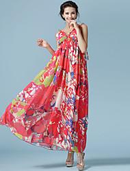 Лето новый богемный платье недоуздок печатный приморский пляж пляж юбка шифон платье женская