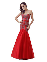 Mermaid / Trumpet Sweetheart Floor Length Tulle Formal Evening Dress with Beading