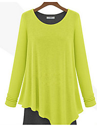 Women's Casual/Daily Beach Holiday Street chic Tunic Dress,Patchwork V Neck Asymmetrical Long Sleeve Cotton Spring Fall Mid Rise