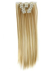 Synthetic Hair 130g  with Clips 16 Clip in Hair Extensions False Hair Hairpieces Straight Hair 58cm Long Apply Hairpiece D1014 27H613#