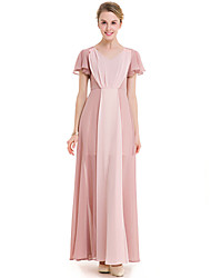 SUOQI Fashion Wild V Collar Short Sleeves Hit The Color Chiffon Big Swing Long Skirt Party Cocktail Party Beach Holiday Leisure Dress