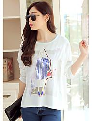 Damen Geometrisch Einfach Lässig/Alltäglich T-shirt,Rundhalsausschnitt Langarm Baumwolle Dünn