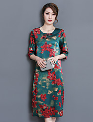 2017 spring new temperament silk dress and long sections Slim thin silk dress fifth sleeve