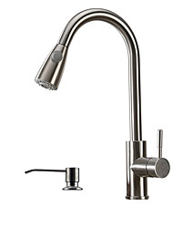 Contemporary Art Deco/Retro Pull-out/­Pull-down Vessel Widespread Pullout Spray with  Ceramic Valve Single Handle One Hole for  Stainless