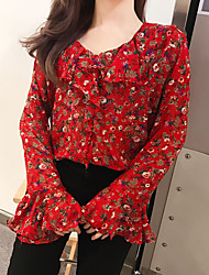 Really making Korea purchasing department funny girl romantic sweet floral chiffon shirt
