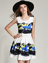 Sign summer new European and American fashion printing waist dress pleated skirt sub bottoming