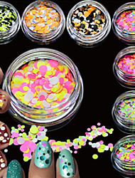 12bottles/set Fashion Nail Art Glitter Colorful Round Thin Paillette Sparkling Slice Beautiful Design Nail Art DIY Decoration P25-36