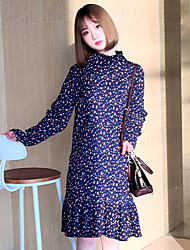 Sign crimp small fresh new spring wild long section of female long-sleeved dress Floral flounced