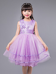 Ball Gown Knee-length Flower Girl Dress - Cotton Satin Tulle Sleeveless Jewel with Appliques Bow(s) Flower(s) Sash / Ribbon