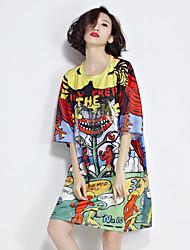 tir réel 2017 partie européenne de la section d'impression de t-shirt personnalisé printemps longue cinquième manche marée féminine robe