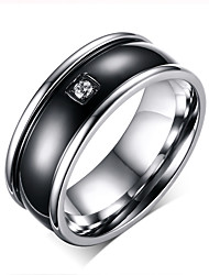 Men Ring Wedding Engagement Band Inlay CZ Stone Black Center