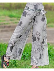 Feminino Simples Cintura Baixa Micro-Elástico Chinos Calças,Solto Estampado