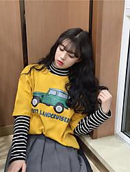 Really making Korea cartoon car early spring new retro print short-sleeved loose short-sleeve T-shirt female