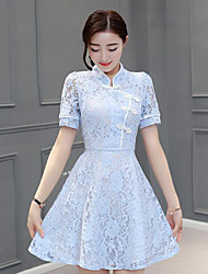 Sign new flower collar plate buttons short-sleeved waist Slim ladies lace A-line dress cheongsam dress