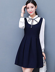 2017 spring new bow fake two long-sleeved dress preppy collar pleated skirt was thin