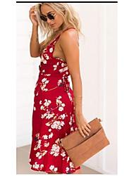 Flower print sexy cross straps v-neck sleeveless dress