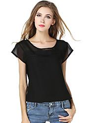 Damen Solide Patchwork Retro Lässig/Alltäglich T-shirt,Rundhalsausschnitt Sommer Kurzarm Polyester Dünn Lichtdurchlässig