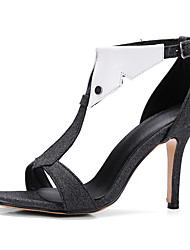 Women's Sandals Spring Summer Club Shoes T-Strap Leatherette Party & Evening Dress Stiletto Heel Rivet Buckle