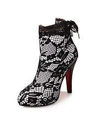 Feminino-Botas-Conforto Sapatos clube-Salto Agulha-Branco Preto-Materiais Customizados-Social Casual Festas & Noite