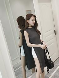 Sign 2017 spring long section of high-slit sleeveless dress T