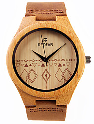 Women's Dress Watch Wrist watch Japanese Quartz Wooden Leather Band Charm Brown
