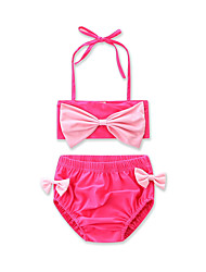 Summer Girls Bow Bikini Split Swim Clothes Beach Cotton Solid Color Kids  Baby Swimsuit