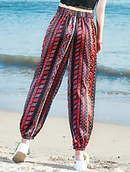 signe vacances Culottes pantalons jambes larges pantalons impression vent national pantalon décontracté pantalon sarouel pantalons de