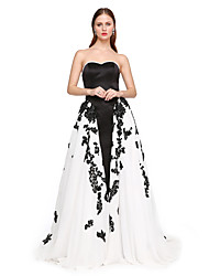 TS Couture Formal Evening Dress - Elegant Open Back A-line Sweetheart Sweep / Brush Train Satin with Appliques Beading Pleats