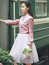 Assinar novo retro original cheongsam melhor jacquard costura puff gaze tutu vestido