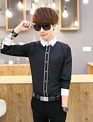 Men's Casual/Daily Club Simple Shirt,Color Block Shirt Collar Long Sleeve Nylon