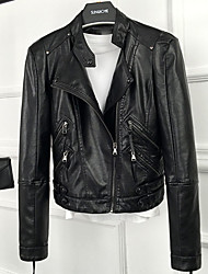Women's Going out Sexy Spring Leather Jacket,Solid Notch Lapel Long Sleeve Short Others