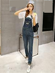Sign 2017 new college wind big yards loose waist was thin denim strap piece pants female trousers