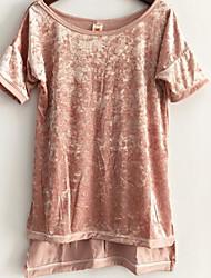 2017 aliexpress de moda europeus e americanos comércio antes do veludo novo ouro manga longa e curta t-shirt de fenda solta