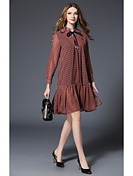 -2017 Spring new high-end European and American retro print dress women in long-sleeved dress loose temperament