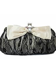 L.WEST Women's Luxury High-grade Bowknot Lace Evening Bag