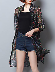 Women's Casual/Daily Simple Summer Cloak/Capes,Print Round Neck ½ Length Sleeve Long Acrylic