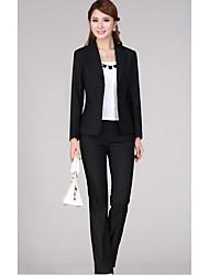 Women's Work Sophisticated Spring Fall Jacket,Solid V Neck Long Sleeve Regular Polyester