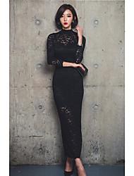 Feminino Vestidinho Preto Vestido,Casual Sensual Sólido Colarinho Chinês Longo Manga Longa Outros Todas as Estações Cintura AltaSem