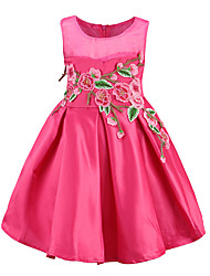 Girl's Going out Casual/Daily Holiday Embroidered Dress,Polyester Summer Sleeveless